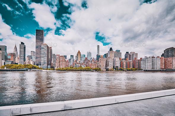 Retro stylized New York City skyline, USA - Stock Photo - Images