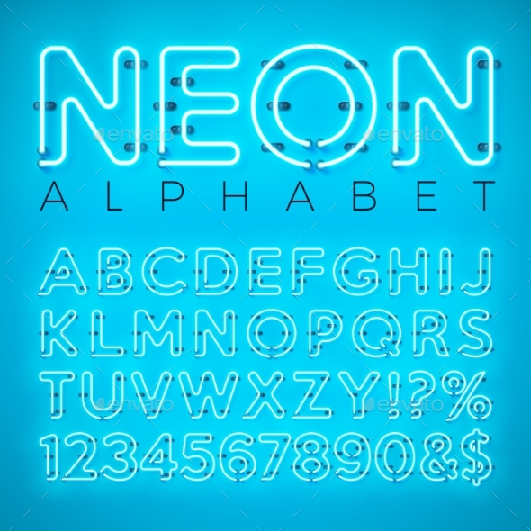 Bright Neon Alphabet on Blue Background - Valentines Seasons/Holidays