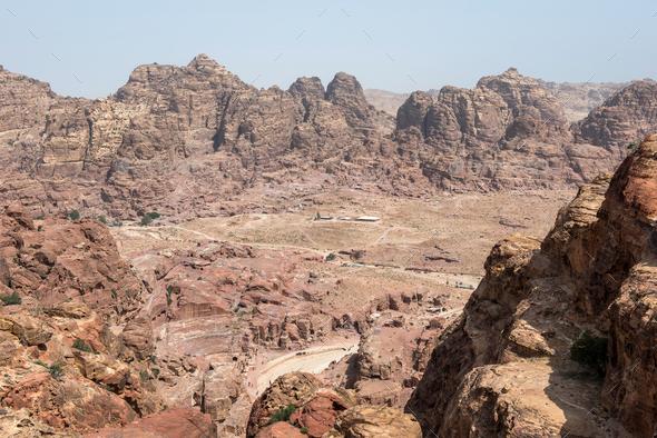 View of ancient, abandoned rock city of Petra, Unesco heritage, Jordan - Stock Photo - Images