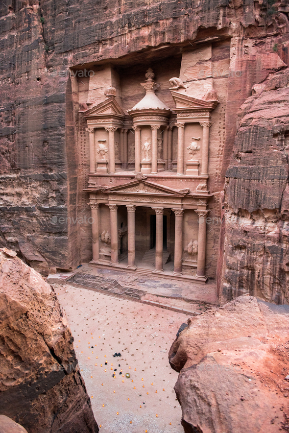 The Treasury. Petra, Jordan. Ancient stone carving made by the Nabatean civilization - Stock Photo - Images