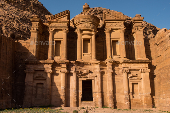 Facade of the Monastery in sunset lights. Petra, Jordan - Stock Photo - Images