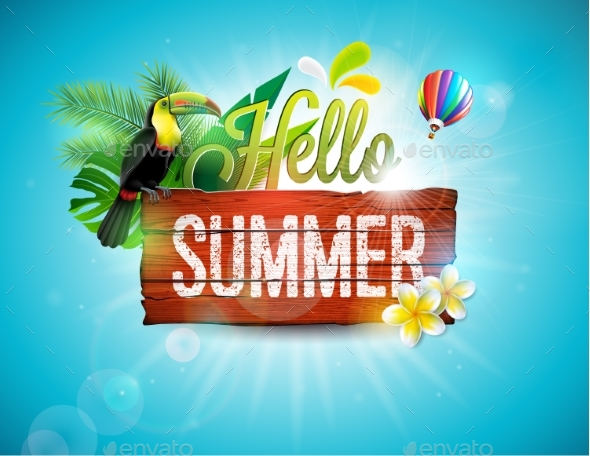 Happy Summer Holidays Background Vector: Vector Hello Summer Holiday Typographic By Articular