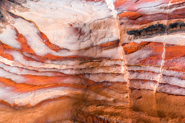 Sandstone pattern, geological texture in Petra - Stock Photo - Images