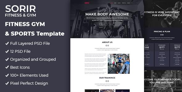 Sorir   Fitness & Gym Website PSD Template