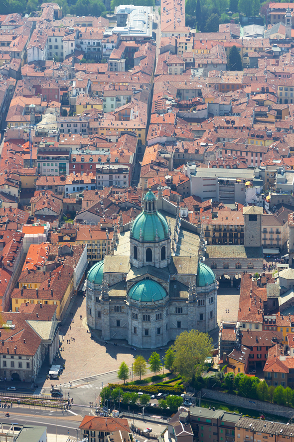 Aerial View of the Duomo of Como, Italy - Stock Photo - Images
