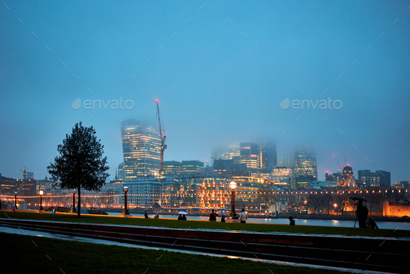 Night view of London at fog - Stock Photo - Images