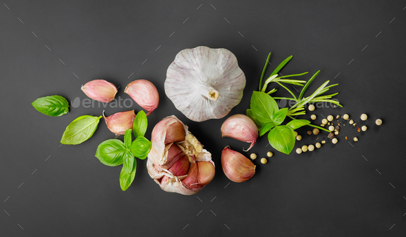 composition of garlic and spices - Stock Photo - Images