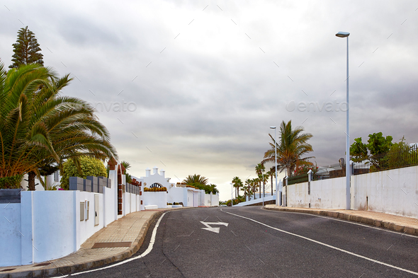 Street view of Puerto del Carmen, Lanzarote Island - Stock Photo - Images
