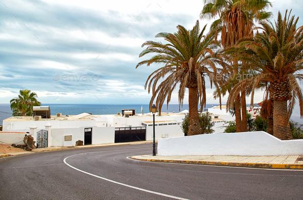 Street view of Puerto del Carmen, Lanzarote Island - Stock Photo - Images