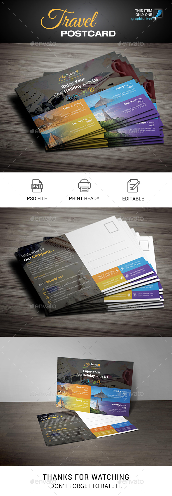 Travel Postcard - Cards & Invites Print Templates