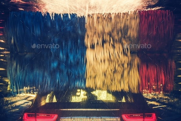 Colorful Car Wash in Action - Stock Photo - Images