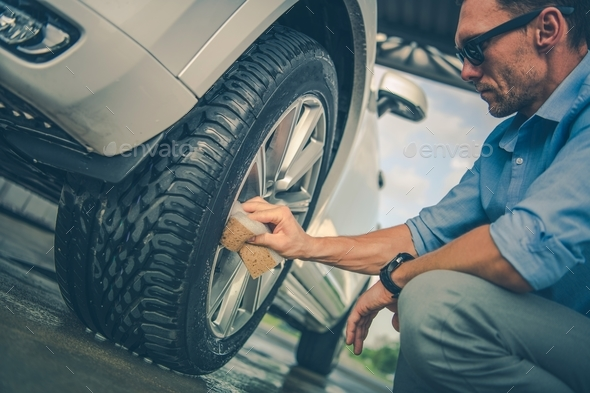 Alloy Wheels Hand Cleaning - Stock Photo - Images