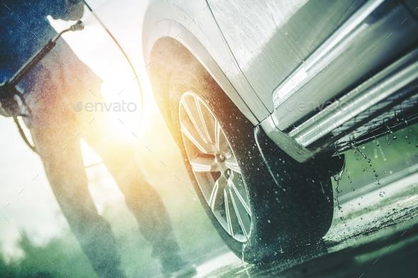 Men Washing Dirty Car - Stock Photo - Images