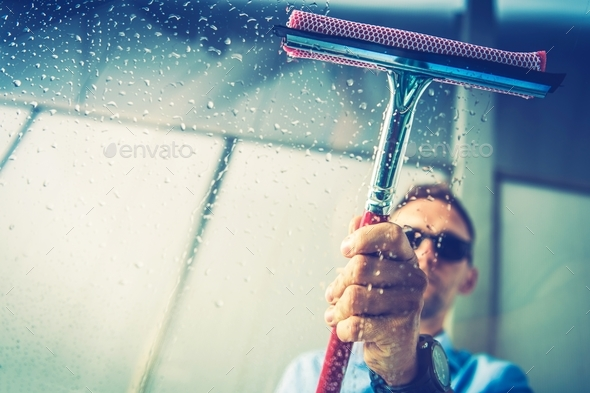 Car Window Cleaning - Stock Photo - Images