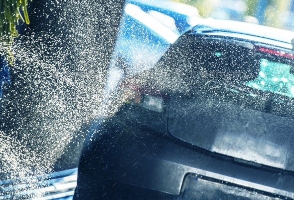 Vehicle Washing in the Car Wash - Stock Photo - Images