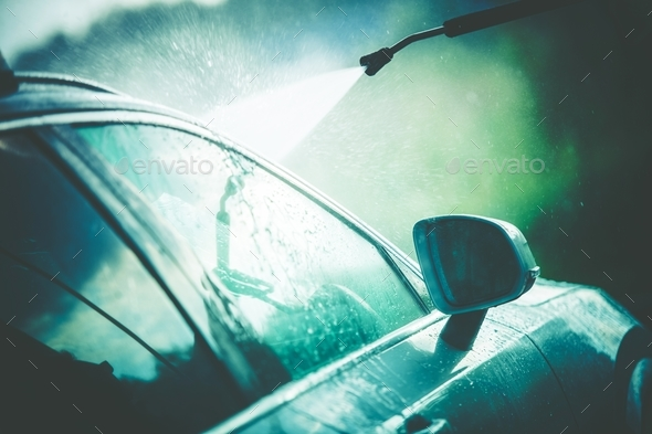 Vehicle Cleaning in Car Wash - Stock Photo - Images