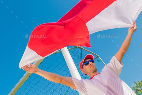 Soccer Fan with the Flag - Stock Photo - Images