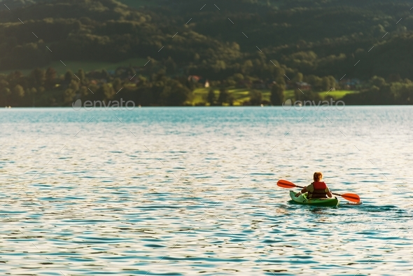 Woman in the Kayak - Stock Photo - Images