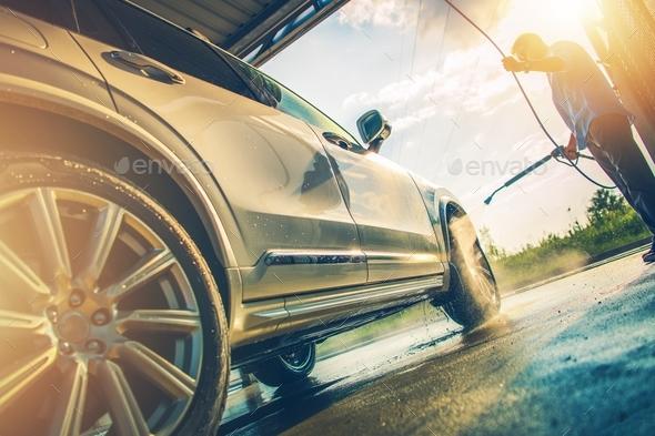 Men Washing Modern Car - Stock Photo - Images