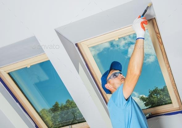 Caucasian Room Painter - Stock Photo - Images