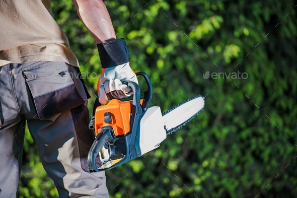 Men with the Chain Saw - Stock Photo - Images