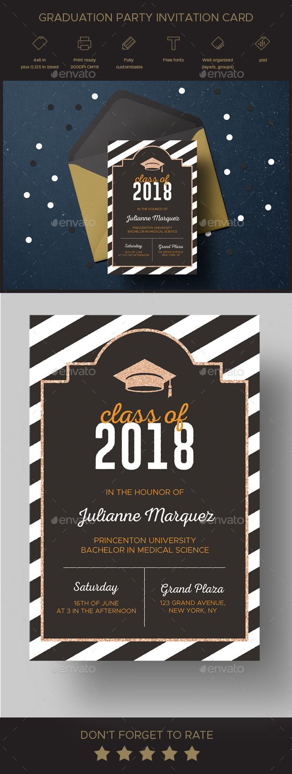 Graduation party invitation card by elitevision graphicriver graduation party invitation card invitations cards invites filmwisefo