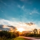 Beautiful Countryside Road at Sunset. Clouds Moving in Blue sky,Colorful Clouds Sky, Exploring - VideoHive Item for Sale