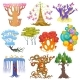 Magic Tree Vector Fantasy Forest with Cartoon - GraphicRiver Item for Sale