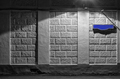 Wall of an building with a blank blue sign for the street name - PhotoDune Item for Sale