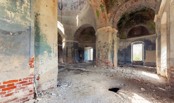 Inside an abandoned old brick church - Stock Photo - Images