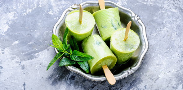 Ice cream with mint - Stock Photo - Images