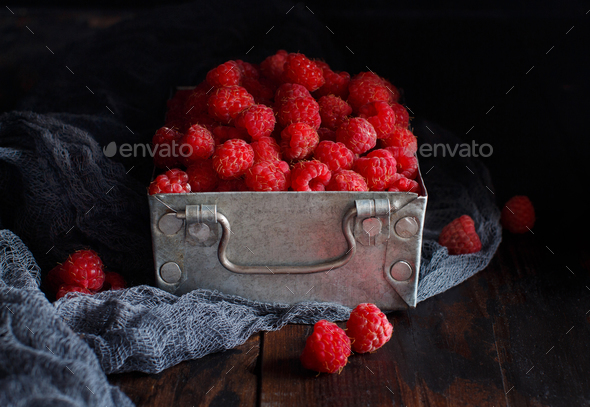 Fresh raspberries in a box - Stock Photo - Images