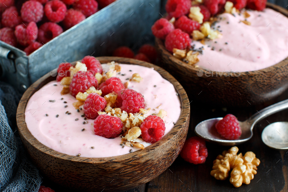 Raspberries smoothie bowls - Stock Photo - Images