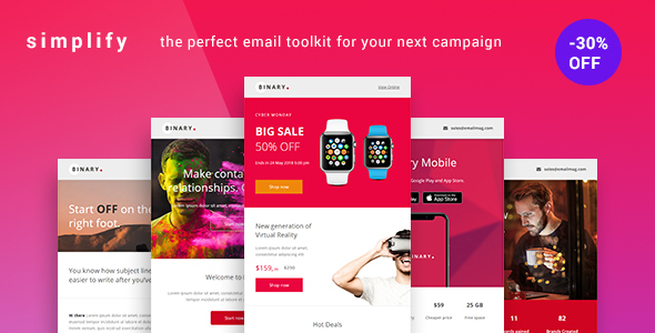 Simplify – Minimal Email Newsletter for Businesses with +100 Modules +20 Template