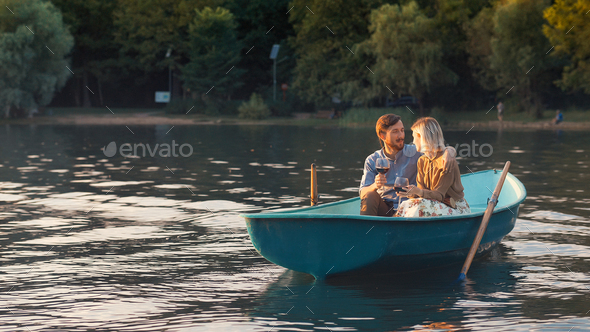 Smiling couple on a date - Stock Photo - Images