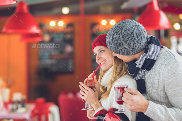 Smiling young couple on a date - Stock Photo - Images