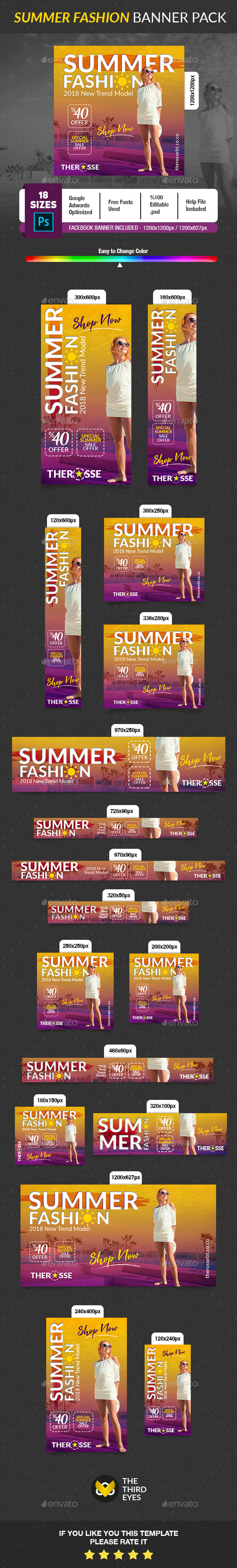 Summer Fashion Banner - Banners & Ads Web Elements