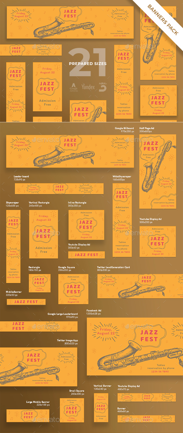 Jazz Festival Banner Pack - Banners & Ads Web Elements