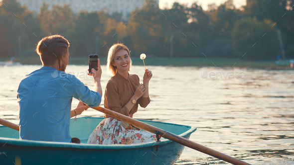 Happy couple on a romantic date - Stock Photo - Images