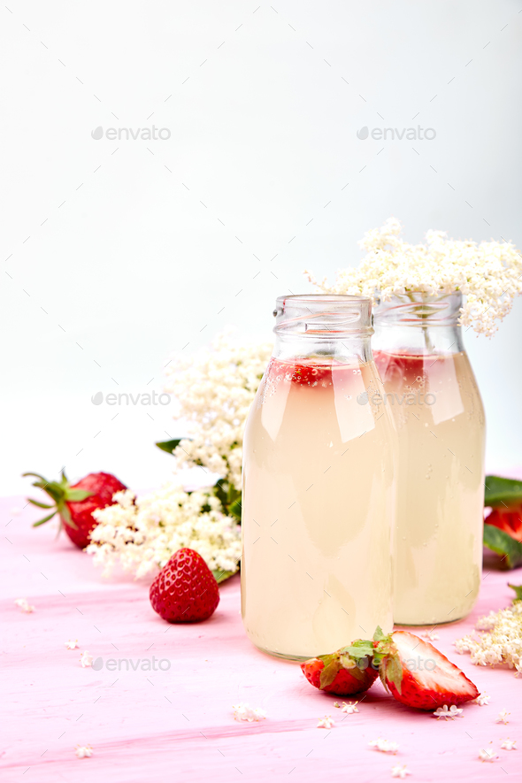 Kombucha tea with elderflower and strawberry - Stock Photo - Images