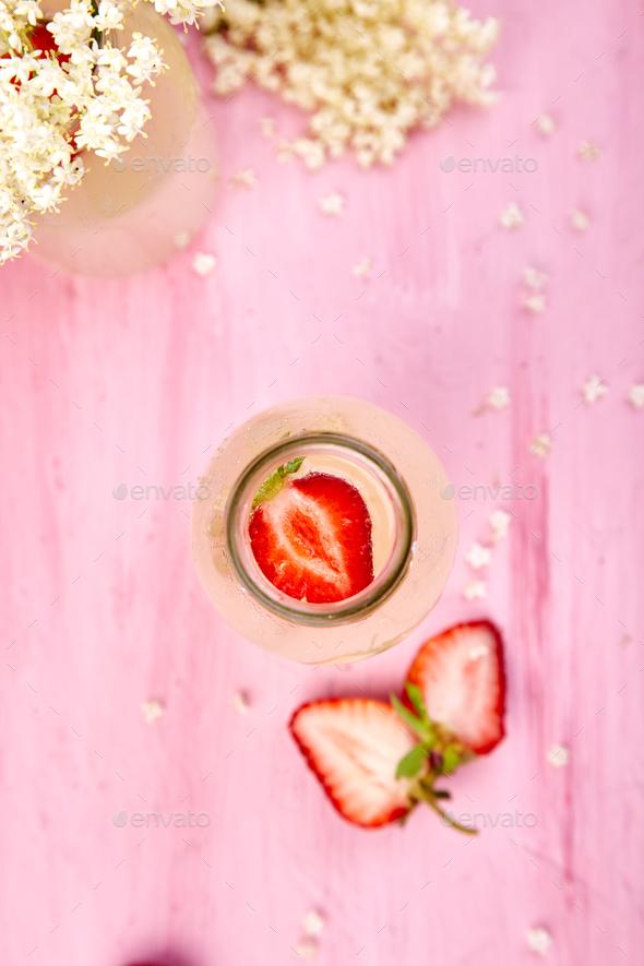 Kombucha tea with elderflower flower and strawberry - Stock Photo - Images