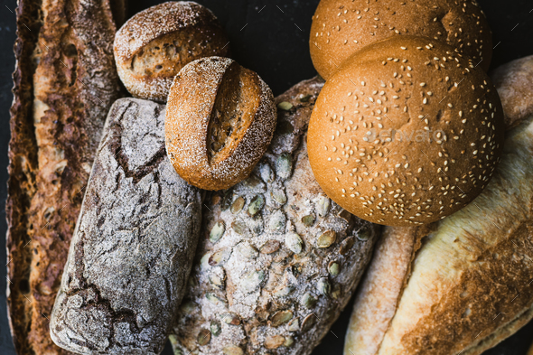 Many mixed breads and handmade bagels - Stock Photo - Images
