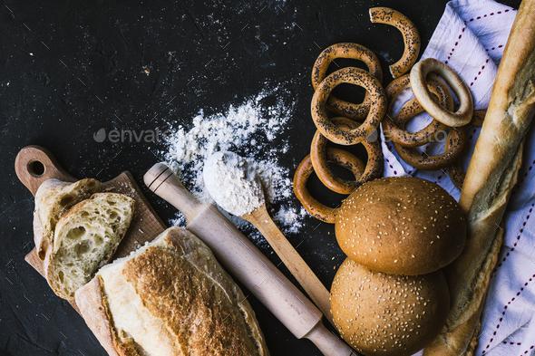 Bread border on dark background - Stock Photo - Images