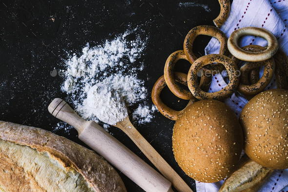 Bread border on dark background - Stock Photo - Images