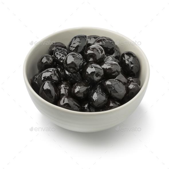 Bowl with shiny black olives - Stock Photo - Images