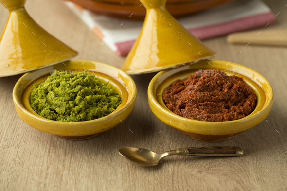Red and green harissa close up - Stock Photo - Images