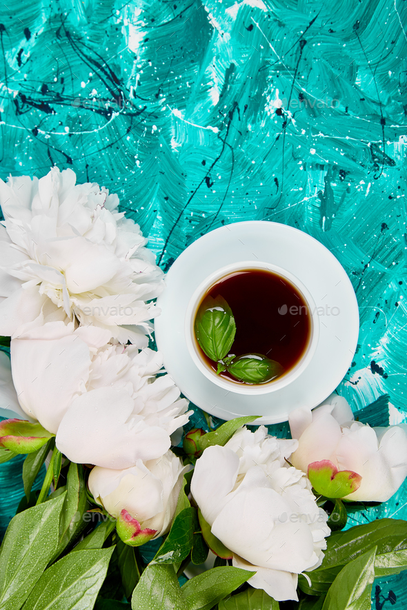 Tea and bouquet of white peony - Stock Photo - Images