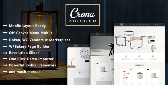 Image of Crona - Clean Minimalist Furniture Responsive WooCommerce WordPress Theme