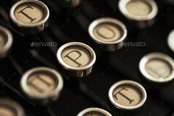 Detail of the keyboard of a typewriter old black - Stock Photo - Images