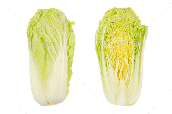 Napa cabbage, whole and half, Chinese cabbage, top view - Stock Photo - Images
